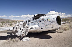 Deserted Vintage Airplane. Wreckage of an old propeller airplane in the Nevada desert Royalty Free Stock Photo