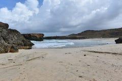 Deserted White Sand Beach on the East Coast of Aruba Stock Photo