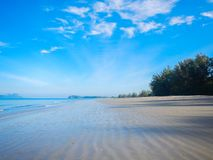 Deserted white sandy beach. Somewhere on the tropics on a great free sunny day stock image