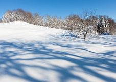 Deserted winter hilly field landscape Royalty Free Stock Photos