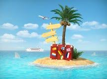 Desertera den tropiska ön med palmträdet, chaisevardagsrumen, resväska Royaltyfri Bild