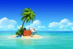 Den tropiska ön med gömma i handflatan, chaisevardagsrumen, resväska. Arkivbilder