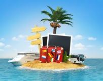 Desertera den tropiska ön med palmträdet, chaisevardagsrummet, resväska a Royaltyfria Bilder