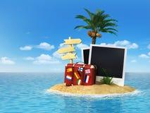 Desertera den tropiska ön med palmträdet, chaisevardagsrummet, resväska a Royaltyfri Foto