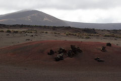Desertera det vulkaniska landskapet för stenen i Lanzarote, kanariefågelöar Royaltyfri Fotografi