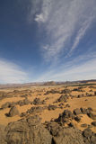 Desertic landscape. In the south of Algeria, near Djanet Stock Photos