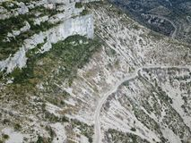Desertic landscape of Circus of Navacelles in Herault,. Famous meander dug by erosion, Occitanie in the southern of France royalty free stock photo