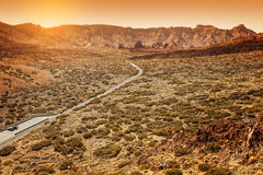 Desertic Road in Orotava Valley, Tenerife Royalty Free Stock Images