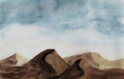Deserto in acquerello Immagine Stock