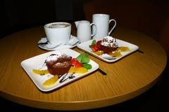 Deserto con i frutti e il coffe Fotografia Stock