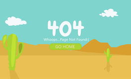 Deserto con la pagina 404 dei cactus non trovata Immagini Stock