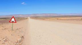 Deserto da estrada do cascalho do sinal das inundações, Namíbia Foto de Stock
