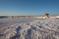Deserto de sal em Tunísia Fotos de Stock Royalty Free