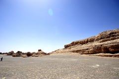 Deserto del Gobi disperato in Yardang Fotografie Stock