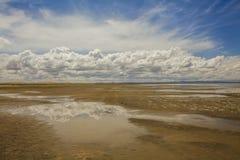 Deserto del Gobi dopo pioggia Riflessione delle nuvole Immagini Stock