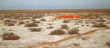 Deserto dell'argilla coperto di barilla & di x28; desert& x29 del saltwort; Cimitero musulmano nella priorità alta kazakhstan Immagine Stock