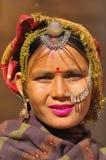 Deserto dell'India, Ragiastan, Thar: Donna Colourful Fotografie Stock Libere da Diritti