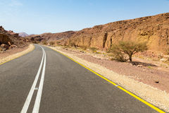 Deserto della strada asfaltata Fotografie Stock Libere da Diritti