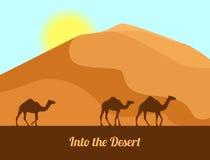 Deserto di Judean Siluette del cammello sul fondo della sabbia Nel deserto Illustrazione di vettore nello stile piano Fotografia Stock Libera da Diritti