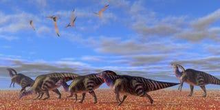 Deserto di Parasaurolophus Immagine Stock Libera da Diritti