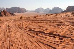 Deserto di Wadi Rum, inverno della Giordania Fotografia Stock Libera da Diritti