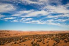 Deserto e céu azul Fotografia de Stock
