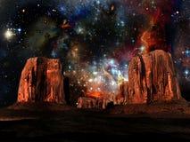 Deserto e estrelas ilustração royalty free