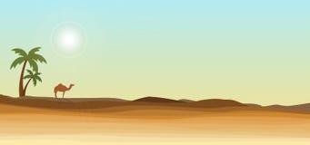 Deserto e palma Fotografia Stock