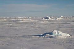 Deserto ghiacciato dell'inverno dell'Antartide soleggiato Fotografie Stock