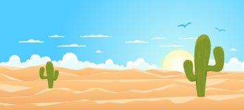 Deserto largo dos desenhos animados Imagens de Stock Royalty Free