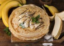 Deserto - pilha de panqueca com banana Fotografia de Stock