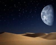 Deserto sulla notte Fotografie Stock Libere da Diritti