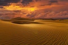 Deserts and Sand Dunes Landscape at Sunrise Stock Image