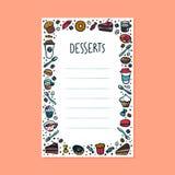Deseru menu szablon Kolorowe doodle stylu filiżanki, ciasto i torty na lekkim tle z kopii przestrzenią, ilustracja wektor