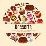 Deseru wektorowy plakat dla ciasta lub patisserie Fotografia Stock