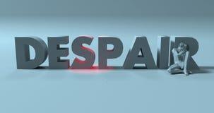 Desesperación - 3d rinden la muestra del texto, cerca de hombre subrayado triste, illustrati libre illustration