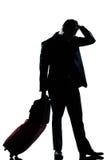 Desesperación triste del hombre de las hojas de ruta (traveler) de asunto del hombre de la silueta Imagenes de archivo