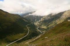 Desfiladeiro de Gletsch, alpes, Switzerland Fotos de Stock Royalty Free