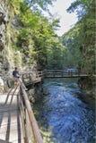 Desfiladeiro e mulher de Vintgar no trajeto de madeira Sangrado, Slovenia Fotos de Stock