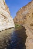 Desfiladeiro no deserto do Negev Fotos de Stock
