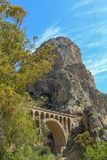 Mountain view with a stone bridge in the Malaga province royalty free stock images