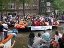 Desfile alegre Amsterdam del orgullo Imagen de archivo libre de regalías