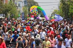 Desfile alegre del orgullo en Tel Aviv, Israel. Foto de archivo