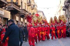Desfile chino del Año Nuevo en Milano Foto de archivo