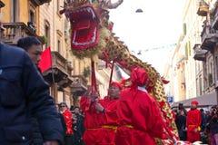 Desfile chino del Año Nuevo en Milano Imagen de archivo libre de regalías
