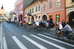 Desfile de la bici - transporte cómodo del eco foto de archivo