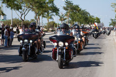 Desfile 2015 de la calle de Harley Davidson European Rally Imágenes de archivo libres de regalías