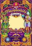Desfile de la demostración de la máscara del carnaval de Mardi Gras Carnival Poster Template Imágenes de archivo libres de regalías