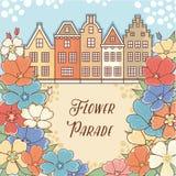 Desfile de la flor en Holanda netherlands Modelo de flor stock de ilustración
