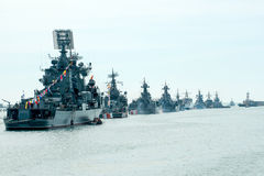 Desfile de la marina de guerra de Victory Day Imagen de archivo libre de regalías